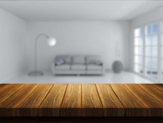 3d rendent d'une table en bois avec un intérieur de chambre à l'arrière-plan