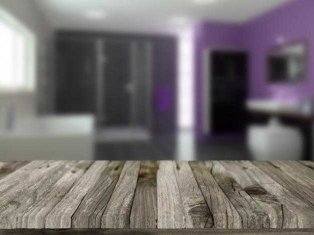 3d rendent d'une table en bois avec une salle de bains défocalisé en arrière-plan