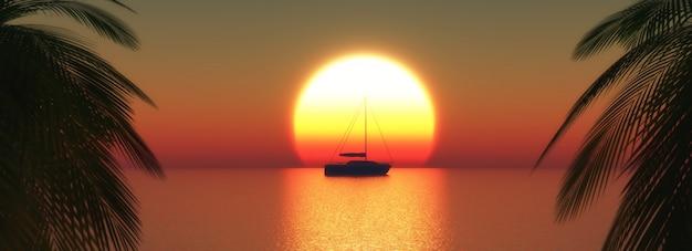 3d rendent d'un yacht sur un coucher de soleil océan