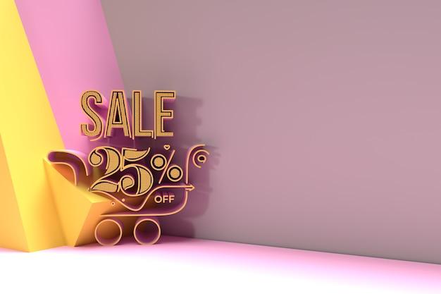 3d render abstract 25% de réduction avec la conception d'illustration 3d de bannière de réduction de panier d'achat.