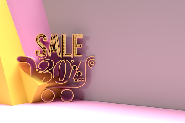 3d render abstract 30% de réduction avec la conception d'illustration 3d de bannière de réduction de panier d'achat.
