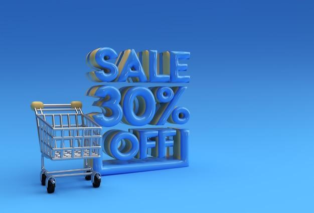 3d render abstract 30% de réduction sur la conception d'illustration 3d de bannière de remise.
