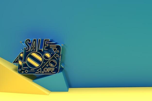 3d render abstract 40% de réduction sur la conception d'illustration 3d de bannière de remise.