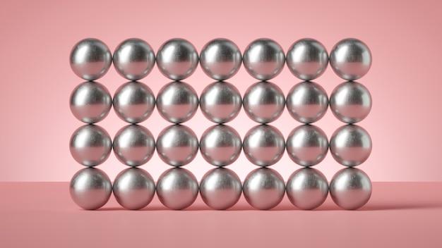 3d render abstrait moderne minimal, construction de mur de nombreuses boules métalliques argentées isolées.