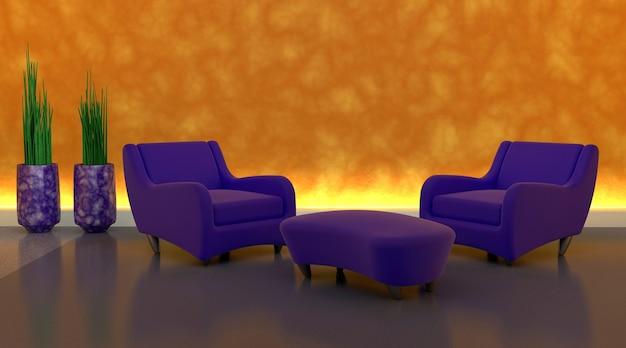 3d render de canapé contemporain dans un cadre moderen