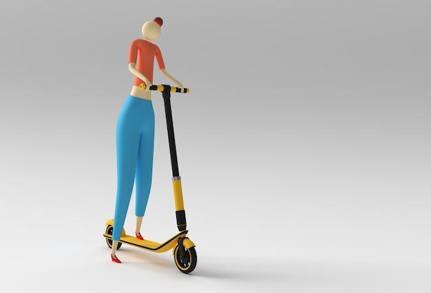 3d render cartoon woman riding a push scooter 3d art design illustration.