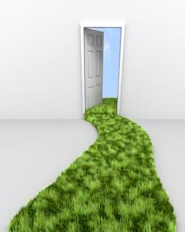 3d render de chemin d'herbe menant à porte vers les nuages