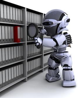 3d render de documents de dépôt de robots