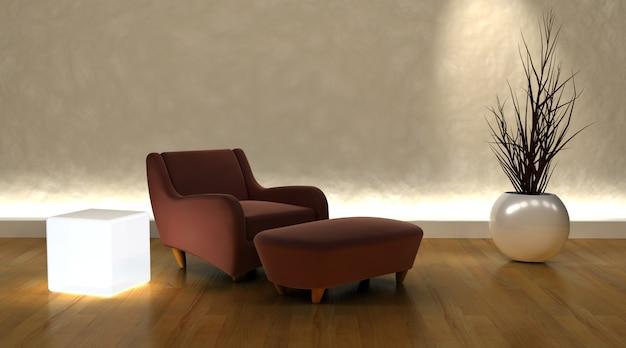 3d render du fauteuil contemporain et pouf dans un cadre moderne