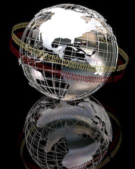 3d render du globe chrome avec code binaire