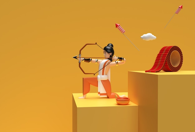 3d render dussehra celebration scene of minimal podium scene for display products advertising design.