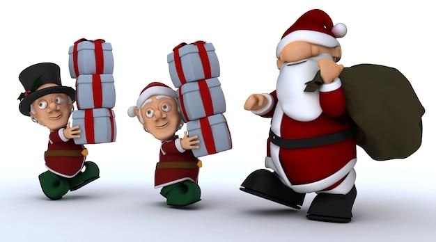 3d render d'un elfe de noël cadeaux de transport pour santa