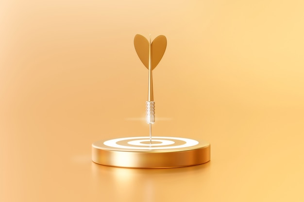 3d render flèche dorée et jeu de fléchettes sur fond d'or