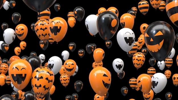 3d render flying ballons d'halloween sur fond noir