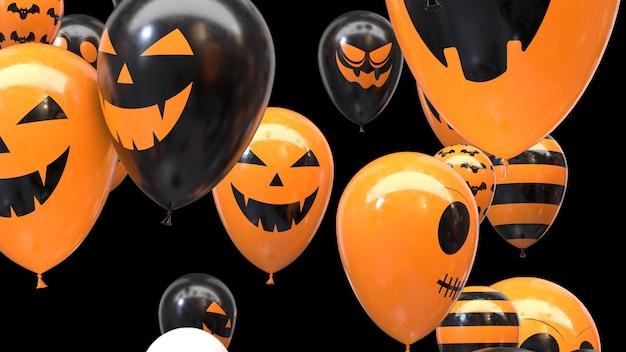 3d render flying ballons d'halloween