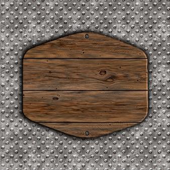 3d render d'un grunge wood sign on a metal background
