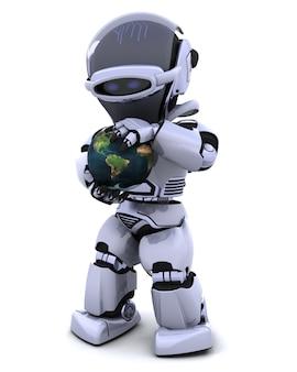 3d render d'un homme protégeant un globe