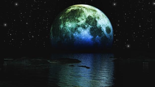 3d render de la lune se couchant sur la mer