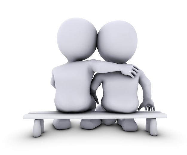 3d render de morph man couple assis sur un banc