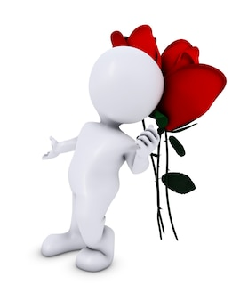 3d render d'un morph man with rose
