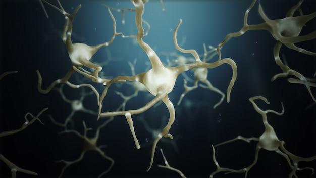 3d render neurone cellules connexions monde abstrait