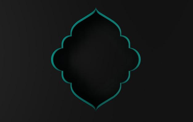 3d render noir arabe complexe, fenêtre islamique