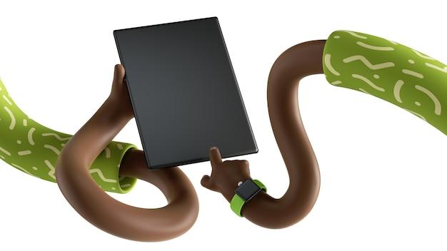3d render of cartoon élastique mains africaines torsadées tenir pad numérique isolé sur fond blanc