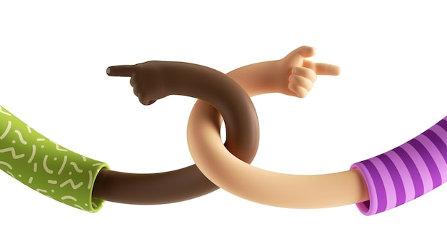 3d render of cartoon élastique torsadé mains caucasiennes et africaines isolés sur fond blanc