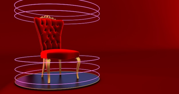 3d render of red chair king sur podium, podium rond or avec trône, cercle lumineux