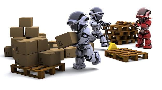 3d render of robot avec boîtes d'expédition