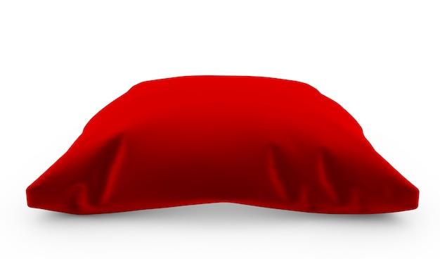 3d render of royal red velours oreiller isolé sur fond blanc