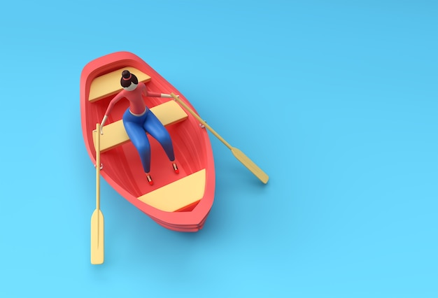 3d render of a woman fun on boat illustration 3d.
