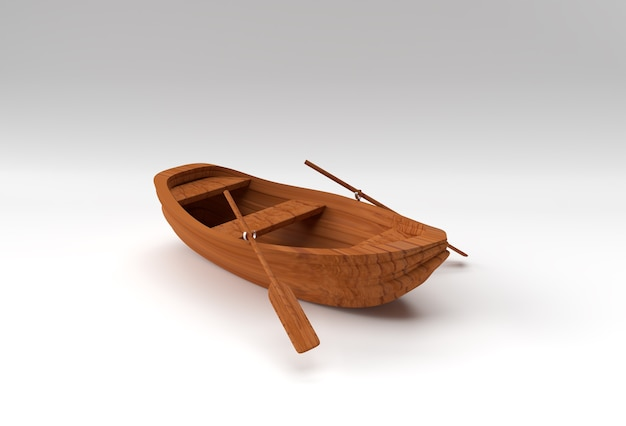 3d render old row boat isolé sur fond blanc.