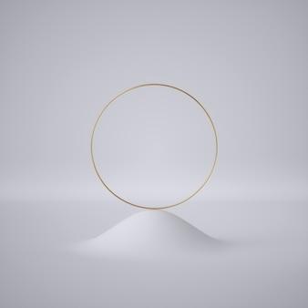 3d render paysage blanc abstrait avec anneau doré rond