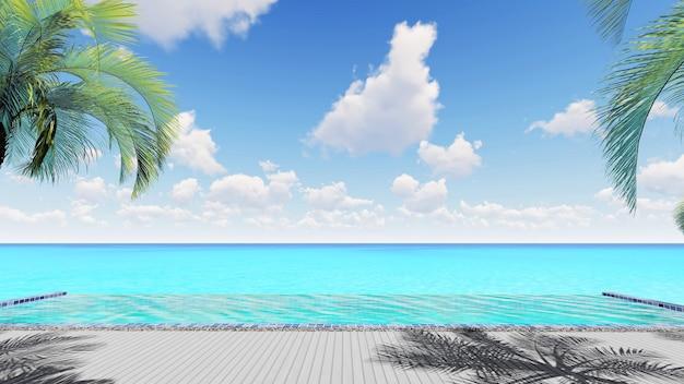 3d render piscine à débordement avec la mer et le fond de ciel bleu