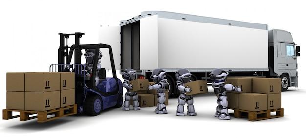 3d render de robot conduire un chariot élévateur