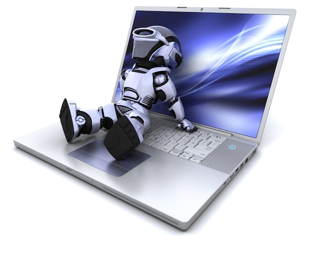 3d render d'un robot de détente sur un ordinateur portable