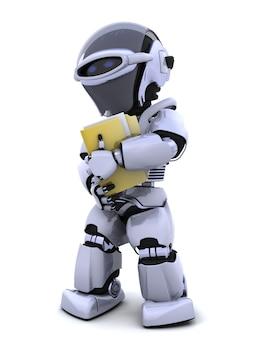 3d render de robot avec le document et le dossier