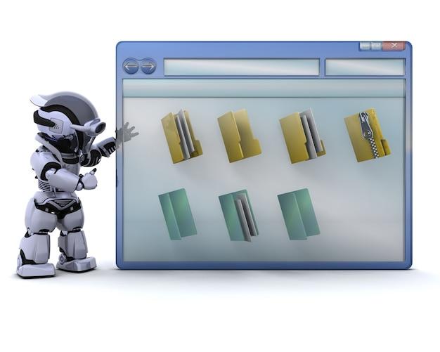 3d render de robot avec la fenêtre de l'ordinateur et des icônes de dossier