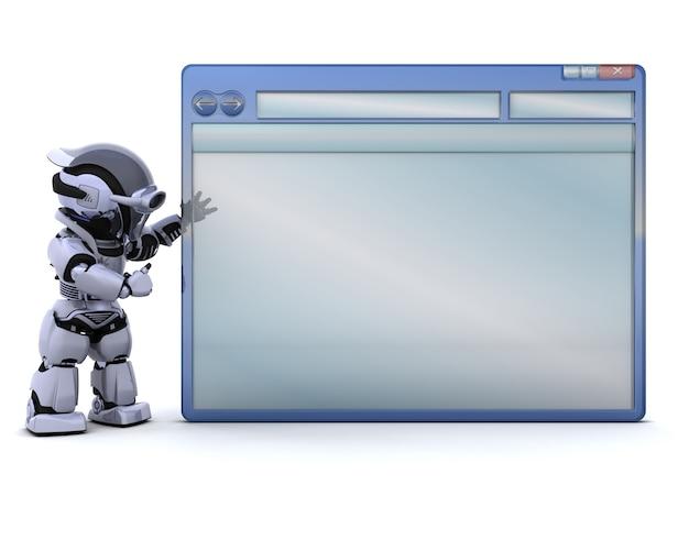 3d render de robot avec fenêtre d'ordinateur vide