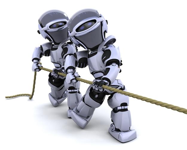 3d render de robots en tirant sur une corde