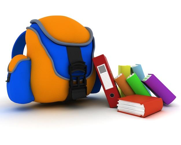 3d render d'un sac et livres scolaires
