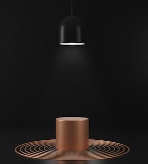 3d render scènes de fond abstrait géométrique avec des scènes de podium or sur fond noir. maquette de minaliste de luxe.