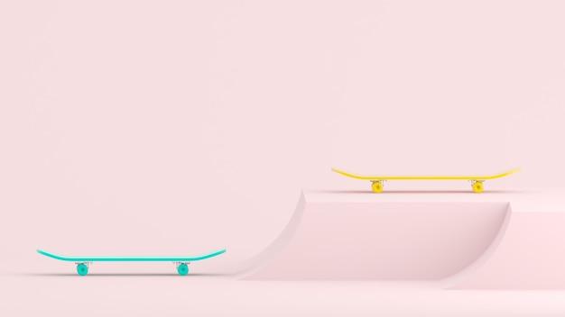 3d render skateboards bleus et jaunes sur fond rose clair