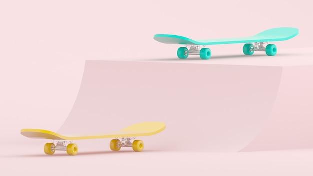 3d render skateboards jaunes et bleus sur fond rose clair
