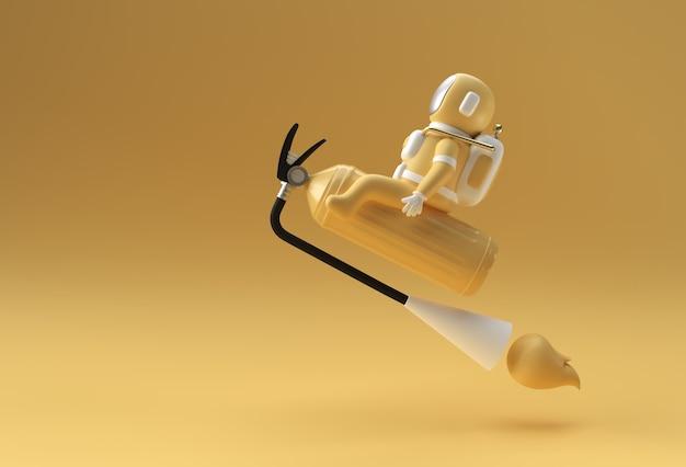 3d render spaceman astronaut flying assis sur extincteur 3d illustration design.