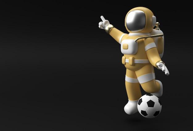 3d render spaceman astronaut hand pointing finger geste avec football 3d illustration design.