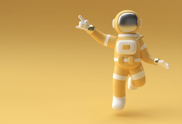 3d render spaceman astronaut hand pointing finger geste illustration 3d design.