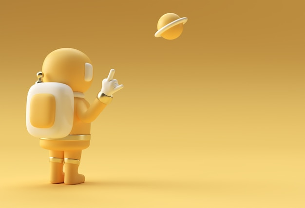 3d render spaceman astronaut hand up rock gesture 3d illustration design.