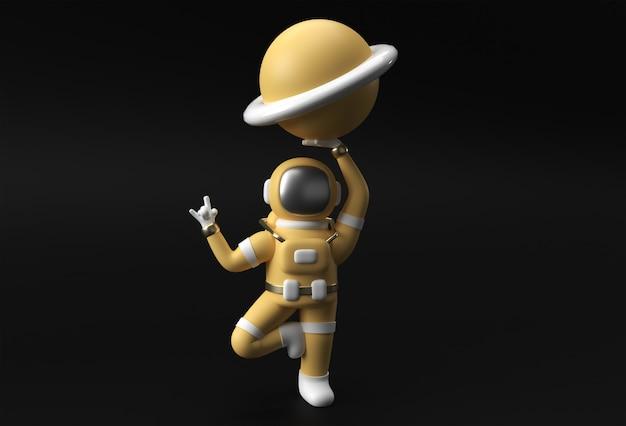 3d render spaceman astronaut hand up rock gesture avec holding planet jupiter 3d illustration design.